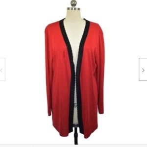 Exclusively Misook Red Cardigan Sweater Small